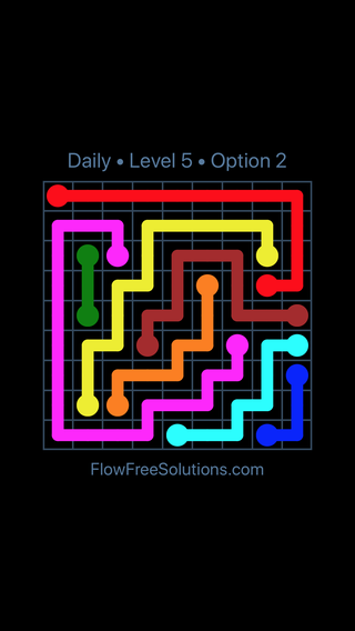 Solution and Answer to the Puzzle for Flow Date Thursday, July 21, 2016 Level 5