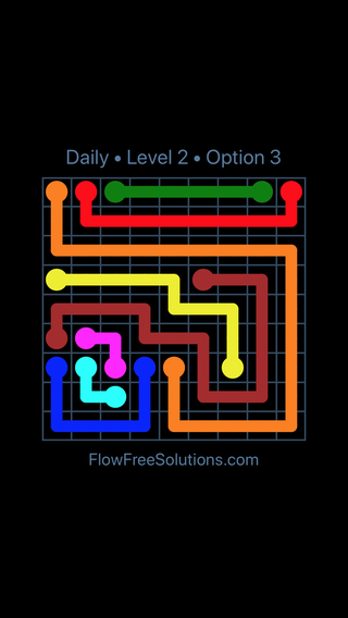 Solution and Answer to the Puzzle for Flow Date Saturday, April 30, 2016 Level 2