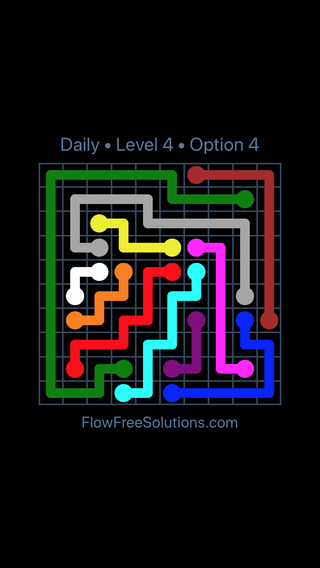 Solution and Answer to the Puzzle for Flow Date Saturday, July 23, 2016 Level 4