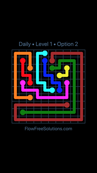 Solution and Answer to the Puzzle for Flow Date Sunday, May 1, 2016 Level 1