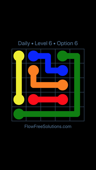 Solution and Answer to the Puzzle for Flow Date Sunday, July 24, 2016 Level 6
