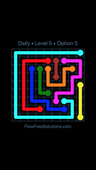 Solution and Answer to the Puzzle for Flow Date Monday, July 25, 2016 Level 5