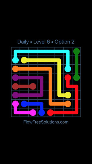 Solution and Answer to the Puzzle for Flow Date Monday, July 25, 2016 Level 6