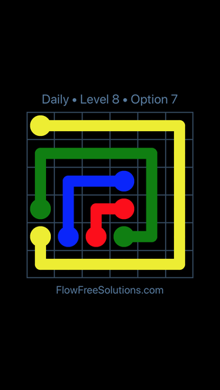 Solution and Answer to the Puzzle for Flow Date Monday, May 2, 2016 Level 8