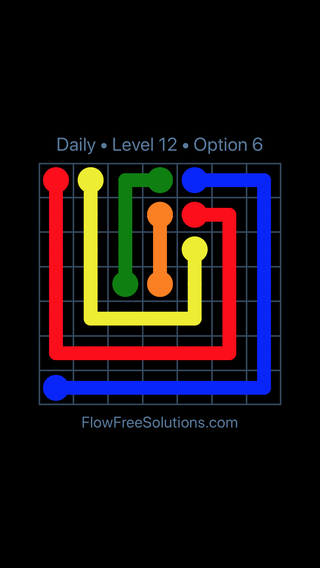 Solution and Answer to the Puzzle for Flow Date Thursday, July 28, 2016 Level 12