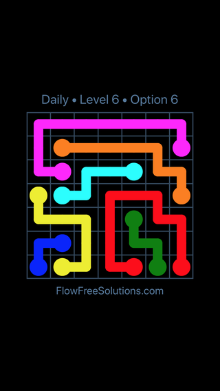Solution and Answer to the Puzzle for Flow Date Thursday, May 5, 2016 Level 6