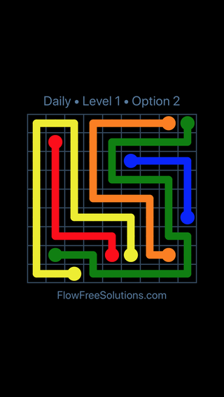 Solution and Answer to the Puzzle for Flow Date Saturday, July 30, 2016 Level 1