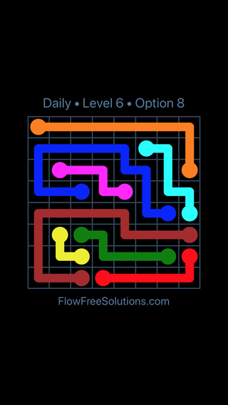 Solution and Answer to the Puzzle for Flow Date Monday, August 1, 2016 Level 6