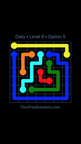 Solution and Answer to the Puzzle for Flow Date Monday, May 9, 2016 Level 8