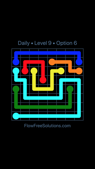 Solution and Answer to the Puzzle for Flow Date Monday, May 9, 2016 Level 9