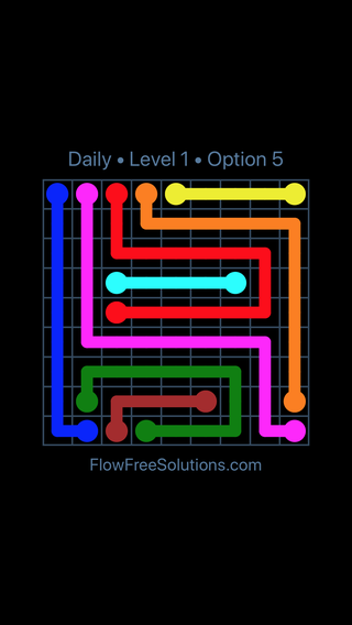 Solution and Answer to the Puzzle for Flow Date Friday, August 5, 2016 Level 1