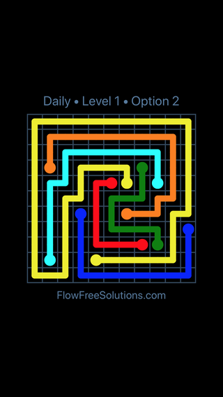 Solution and Answer to the Puzzle for Flow Date Saturday, May 14, 2016 Level 1