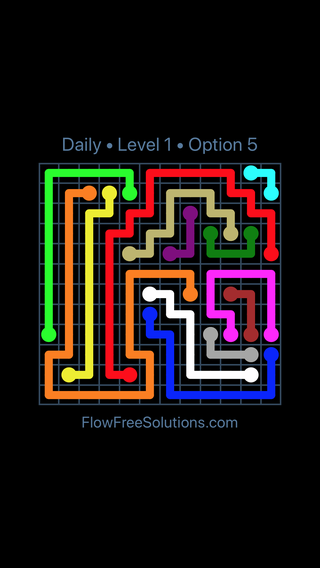 Solution and Answer to the Puzzle for Flow Date Sunday, June 5, 2016 Level 1