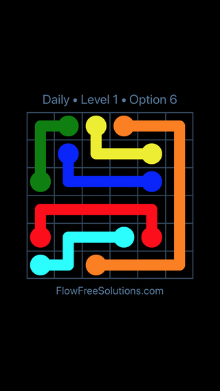 Solution and Answer to the Puzzle for Flow Date Sunday, August 7, 2016 Level 1