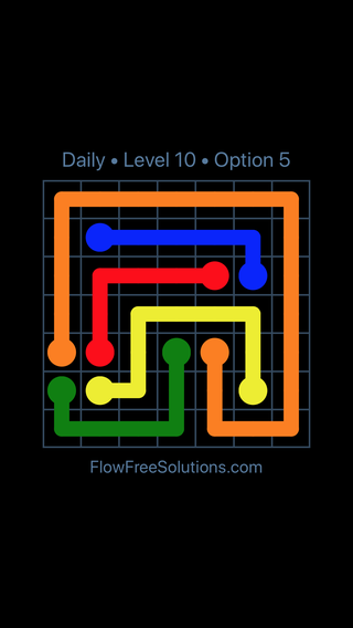 Solution and Answer to the Puzzle for Flow Date Sunday, August 7, 2016 Level 10