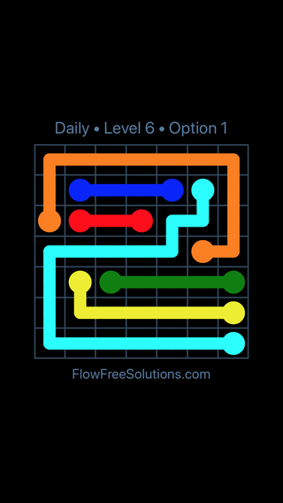 Solution and Answer to the Puzzle for Flow Date Sunday, May 15, 2016 Level 6