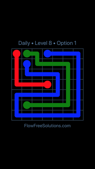 Solution and Answer to the Puzzle for Flow Date Sunday, May 15, 2016 Level 8