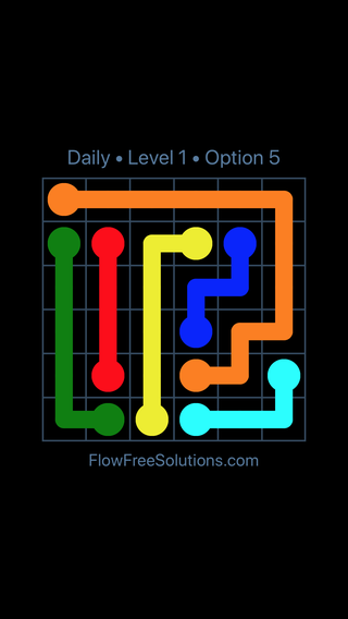 Solution and Answer to the Puzzle for Flow Date Monday, August 8, 2016 Level 1