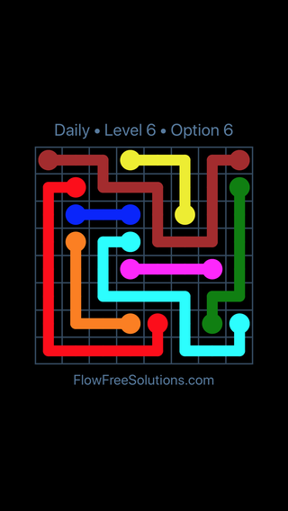 Solution and Answer to the Puzzle for Flow Date Monday, August 8, 2016 Level 6