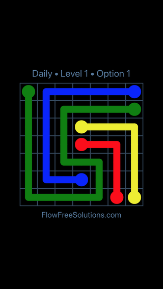 Solution and Answer to the Puzzle for Flow Date Saturday, August 13, 2016 Level 1