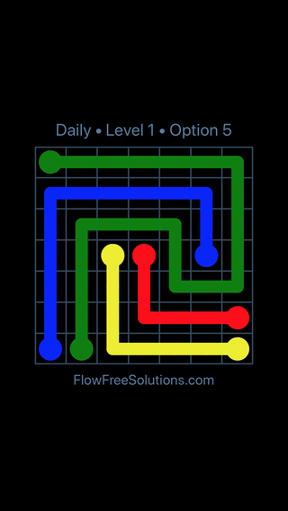 Solution and Answer to the Puzzle for Flow Date Saturday, May 21, 2016 Level 1