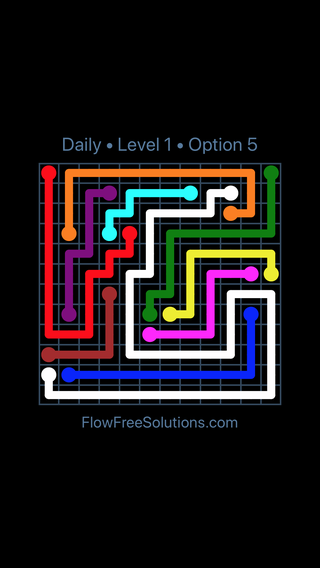 Solution and Answer to the Puzzle for Flow Date Sunday, August 14, 2016 Level 1