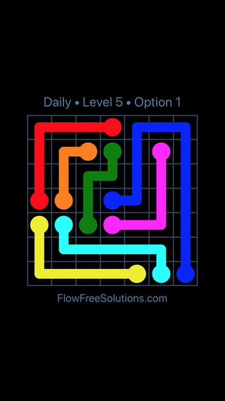 Solution and Answer to the Puzzle for Flow Date Monday, May 23, 2016 Level 5