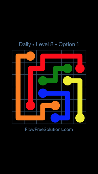 Solution and Answer to the Puzzle for Flow Date Tuesday, May 24, 2016 Level 8