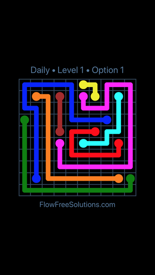 Solution and Answer to the Puzzle for Flow Date Saturday, August 20, 2016 Level 1