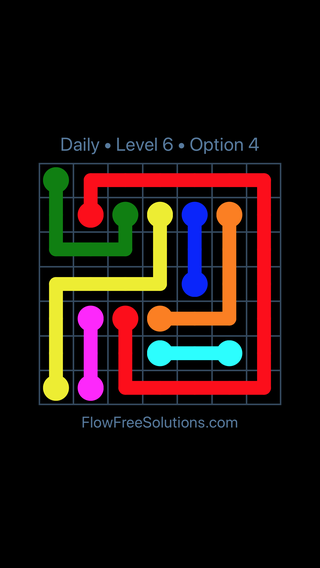 Solution and Answer to the Puzzle for Flow Date Sunday, August 21, 2016 Level 6