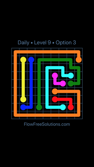 Solution and Answer to the Puzzle for Flow Date Sunday, August 21, 2016 Level 9