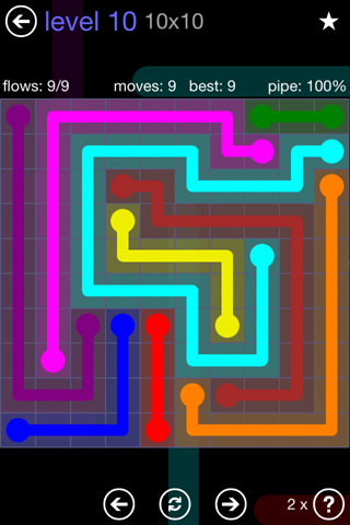 Solution and Answer to the Puzzle for Flow 10mania Pack Set 10x10 Level 10