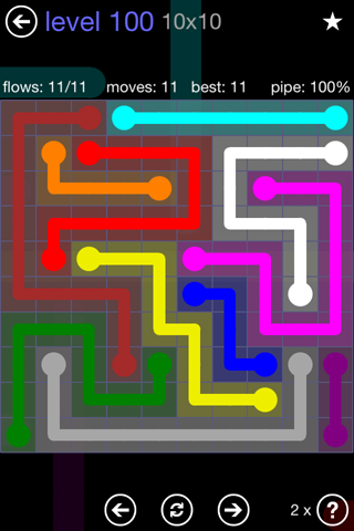 Solution and Answer to the Puzzle for Flow 10mania Pack Set 10x10 Level 100