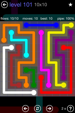 Solution and Answer to the Puzzle for Flow 10mania Pack Set 10x10 Level 101