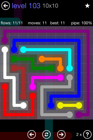 Solution and Answer to the Puzzle for Flow 10mania Pack Set 10x10 Level 103
