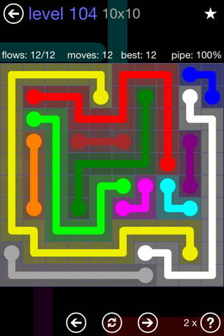 Solution and Answer to the Puzzle for Flow 10mania Pack Set 10x10 Level 104