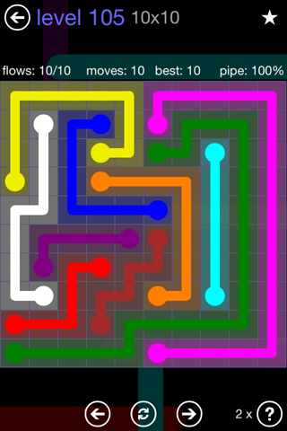 Solution and Answer to the Puzzle for Flow 10mania Pack Set 10x10 Level 105