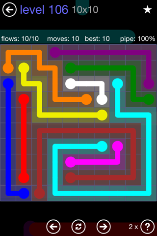 Solution and Answer to the Puzzle for Flow 10mania Pack Set 10x10 Level 106