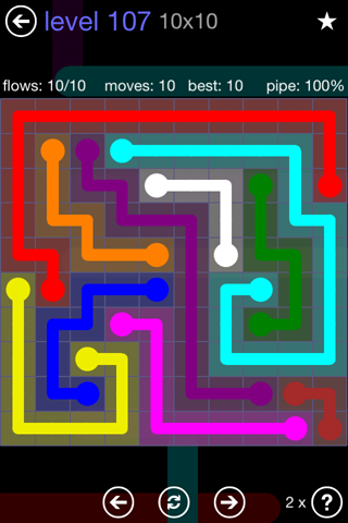 Solution and Answer to the Puzzle for Flow 10mania Pack Set 10x10 Level 107