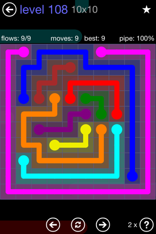 Solution and Answer to the Puzzle for Flow 10mania Pack Set 10x10 Level 108