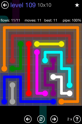 Solution and Answer to the Puzzle for Flow 10mania Pack Set 10x10 Level 109