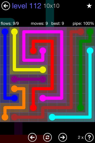 Solution and Answer to the Puzzle for Flow 10mania Pack Set 10x10 Level 112