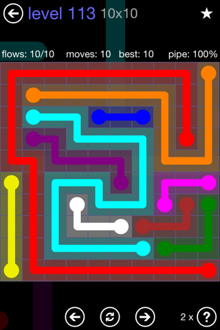 Solution and Answer to the Puzzle for Flow 10mania Pack Set 10x10 Level 113