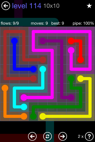 Solution and Answer to the Puzzle for Flow 10mania Pack Set 10x10 Level 114