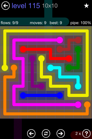 Solution and Answer to the Puzzle for Flow 10mania Pack Set 10x10 Level 115