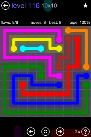 Solution and Answer to the Puzzle for Flow 10mania Pack Set 10x10 Level 116
