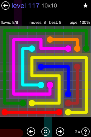Solution and Answer to the Puzzle for Flow 10mania Pack Set 10x10 Level 117