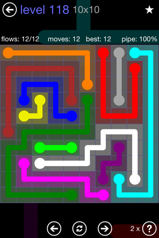 Solution and Answer to the Puzzle for Flow 10mania Pack Set 10x10 Level 118