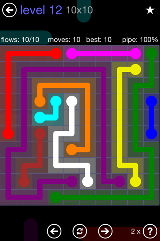 Solution and Answer to the Puzzle for Flow 10mania Pack Set 10x10 Level 12