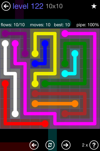 Solution and Answer to the Puzzle for Flow 10mania Pack Set 10x10 Level 122